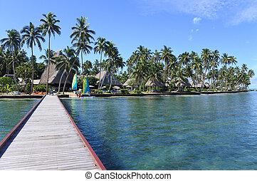 Landscape of a tropical resort in Fiji