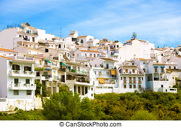 Landscape of a white town, Frigiliana in Andalusia, Spain.