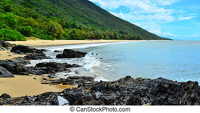 Landscape of a wild beach on the Pacific Ocean in Queensland  Australia