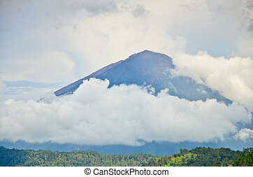 Landscape of Agung volcano on Bali island, Indonesia -...