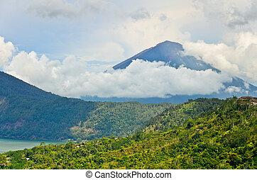 Landscape of Agung volcano on Bali island, Indonesia -...