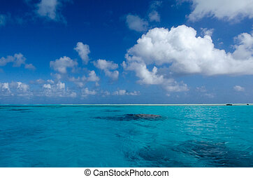 Landscape of Aitutaki Lagoon Cook Islands.