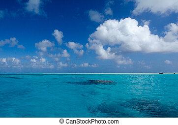 Landscape of Aitutaki Lagoon Cook Islands.