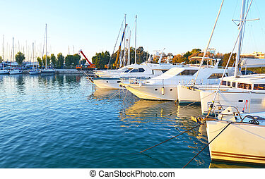 landscape of Alimos marina in Attica Greece - greek yachts...