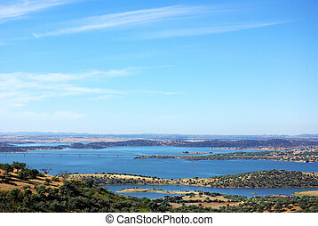 Landscape of alqueva lake near Monsaraz village.