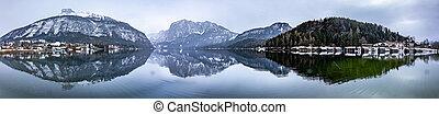 Landscape of Altausseer lake in Styria, Austria in winter