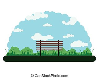 Landscape of an outdoor park with a bench