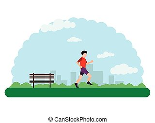 Landscape of an outdoor park with a guy doing exercise