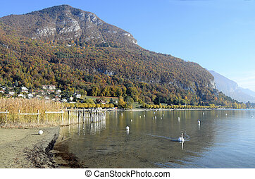 Annecy lake and mountains - Landscape of Annecy lake and...