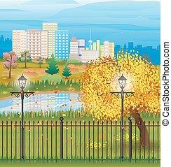 landscape of autumn city Park cityscape