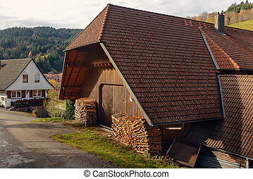 Landscape of autumn countryside with wooden farmhouses on green hill and mountains in the background,Germany