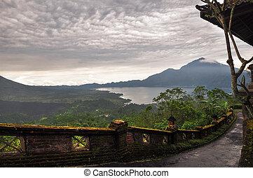 Landscape of Batur volcano on Bali island, Indonesia - ...