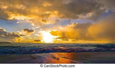 landscape of beautiful golden sky, sunset and sea