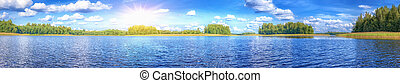 beautiful lake at summer sunny day panoramic