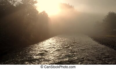 Landscape of beautiful summer nature in foggy morning. Mountain river at sunrise. Misty countryside scene.