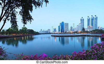 landscape of beautiful water pool important landmark of city...