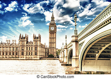 Landscape of Big Ben and Palace of Westminster with Bridge...