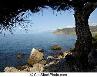 Black sea coast in Crimea.