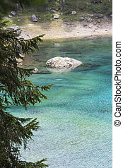 landscape of  blue lake in the mountain