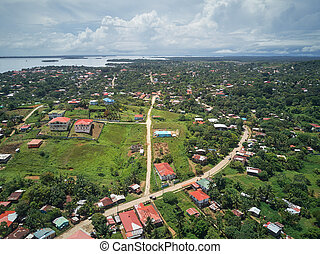 Landscape of Bluefields city in central america
