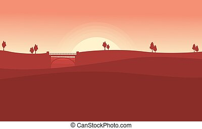 Landscape of bridge on desert vector collection