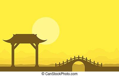 Landscape of bridge on yellow backgrounds
