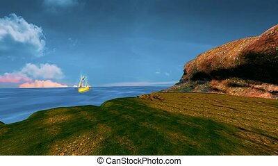 landscape of calm sea, beautiful moving sky and a golden ship.