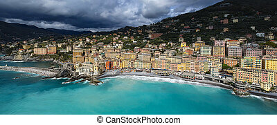 Landscape of Camogli in a cloudy day