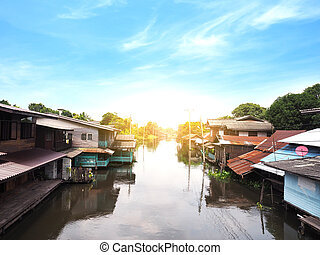 canal and small community in Bangkok, Thailand