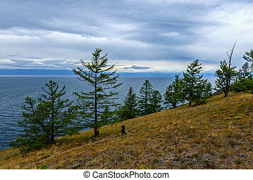Landscape of Cape Khoboy, Olkhon Island, Baikal, Siberia, Russia on a cloudy, stormy, day.