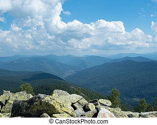Landscape of Carpathians mountains at summer, west Ukraine....