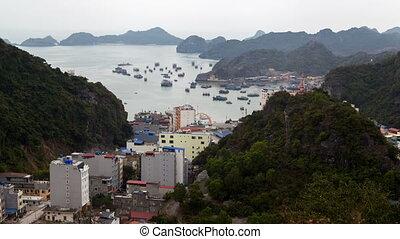 landscape of City Cat Ba Island, Ha Long Bay, Vietnam...
