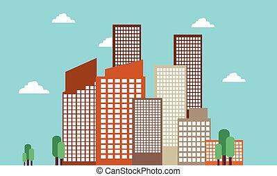 Landscape of city skyline vector art