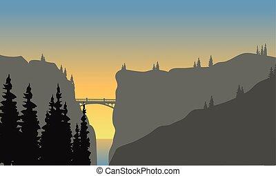 Landscape of cliff at sunset