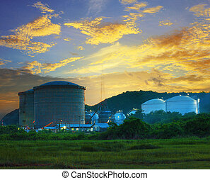 landscape of construction site  oil storage tank in refinery  pe