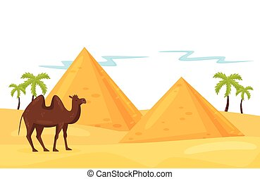 Landscape of desert with Egyptian pyramids, palm trees, brown camel and sand. Natural scenery. Flat vector design