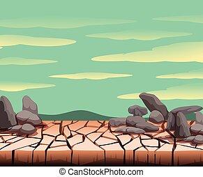 Landscape of dry cracked ground