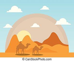 landscape of dry desert with camels