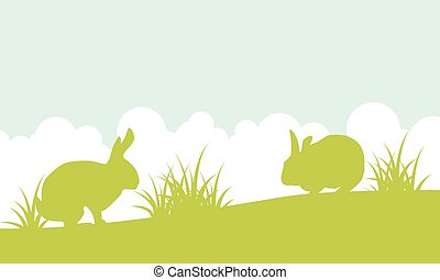 Landscape of easter bunny on hill
