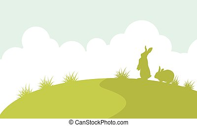 Landscape of easter bunny silhouette
