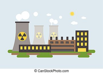 Landscape of energy station, Nuclear power plant in flat design
