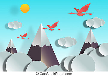 Landscape of flying birds in the mountains.