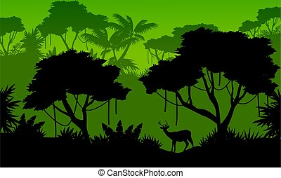 Landscape of forest with deer silhouette