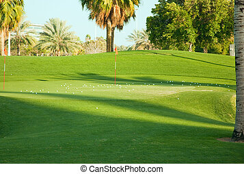Landscape of green golf course. Dubai, UAE