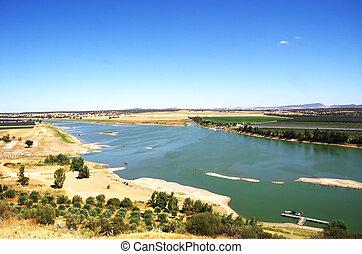 landscape of Guadiana river near juromenha village, Portugal