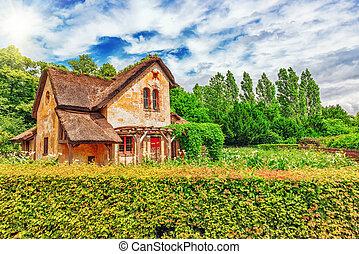 Landscape of hamlet Queen Marie Antoinette's estate near Versailles Palace