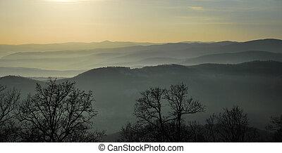 landscape of hills through the fog mist in romania