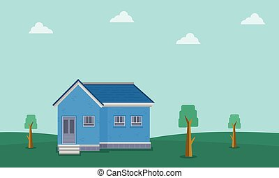 Landscape of house on hill