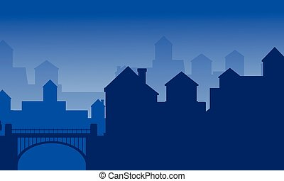 Landscape of house on the city silhouette