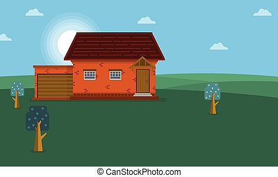 Landscape of house on the hill